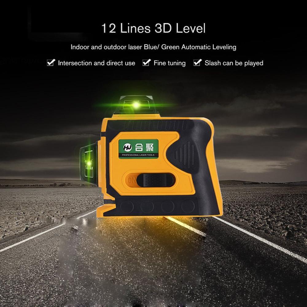 12Lines 3D Laser Level Range Finder Self-Leveling 360 Horizontal And Vertical Cross Super Powerful Green Laser Beam Line