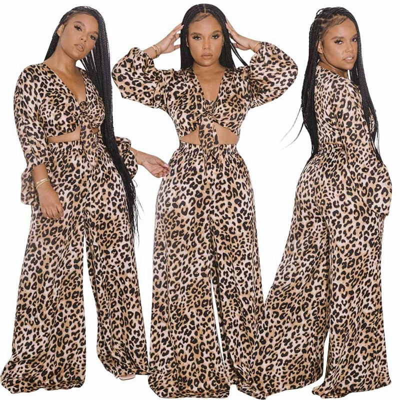 grey rib crossed front deep v neck self tie playsuits Leopard Print Sexy Two Piece Set Autumn Long Sleeve Deep V Neck Tie Front Bandage Crop Top And Long Casual Wide Leg Trousers Set