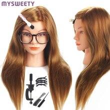 Манекены для парикмахерских кукол, 20 дюймов, для обучения, для волос, косметологии, для укладки волос, с инструментами для практики