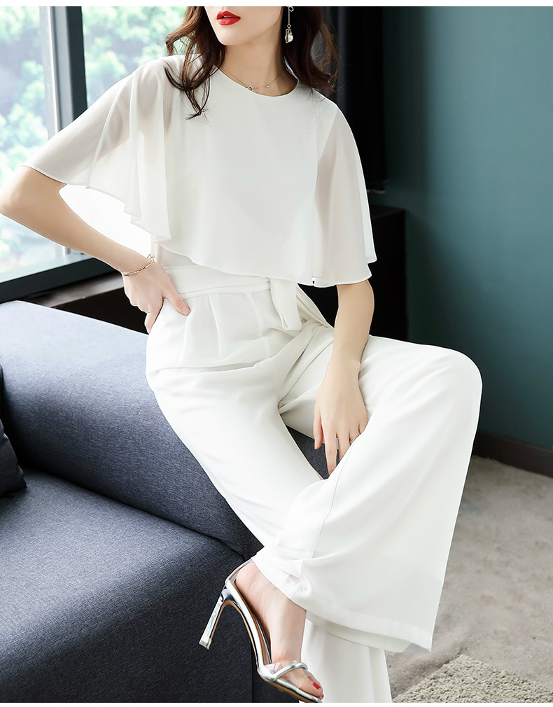 2020 new summer Office lady plus size brand young female ladies girls white chiffon jumpsuit clothing