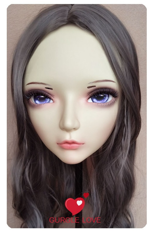 (GL074) dulce chica de resina media cabeza BJD Kigurumi máscara con ojos Cosplay Anime rol Lolita máscara Crossdress muñeca