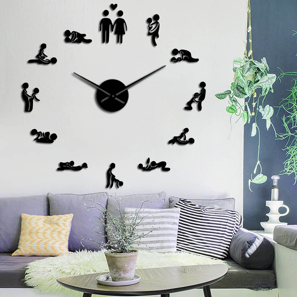 Секс любовь положение немой настенные часы девичник игра сексуальная Кама сутра 3D DIY часы для взрослых декор комнаты акриловые часы большог...