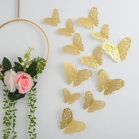 3d metal texture hollow butterfly wall stickers home wall decoration holiday party layout butterfly combination 1 set of 12