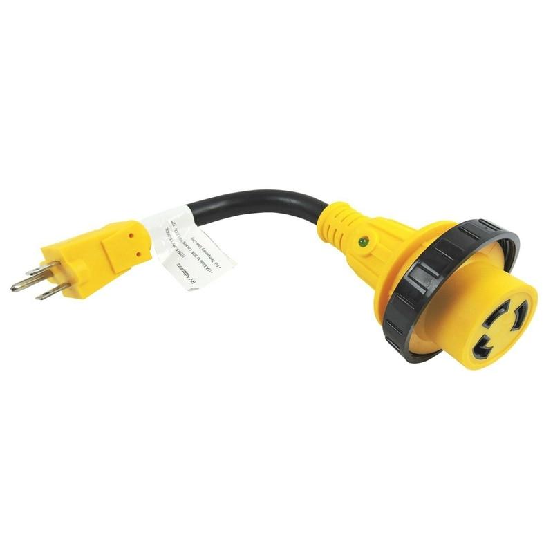 Adaptador de cable de alimentación Parkworld 691975 Rv 15 Amp macho 5-15P a 30 Amp Twist Lock hembra L5-30R