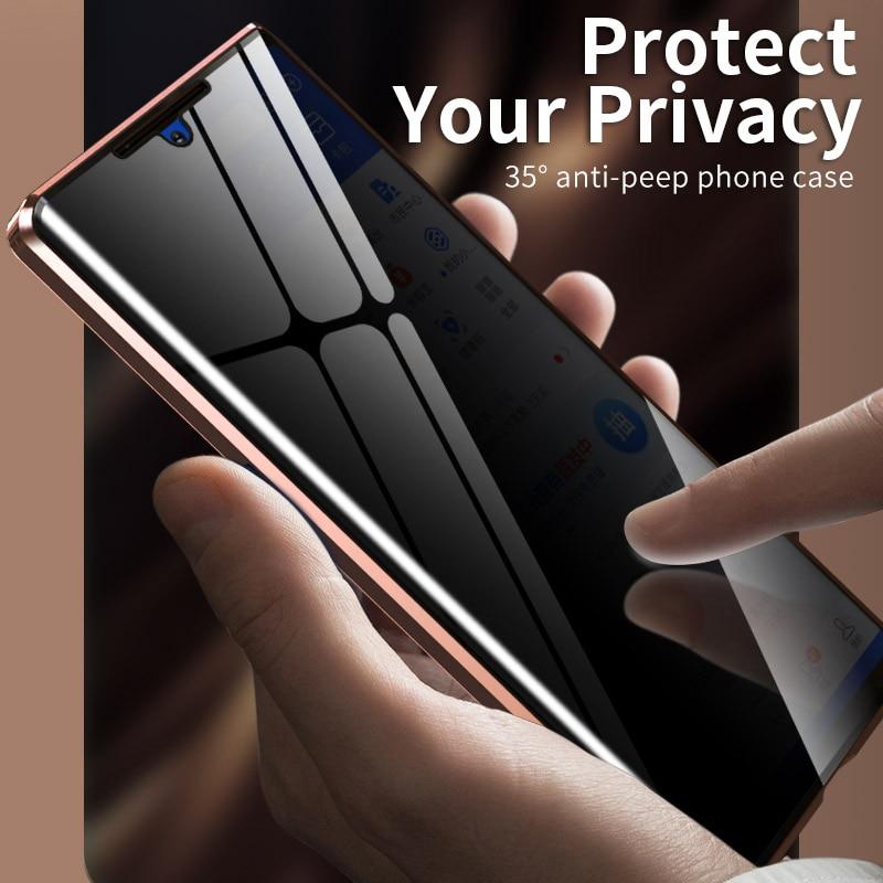 Metal magnético privacidade vidro temperado caixa do telefone para samsung galaxy s20 s10 s9 s8 mais nota 20 10 9 8 ultra a50 a51 a70 a71 caso