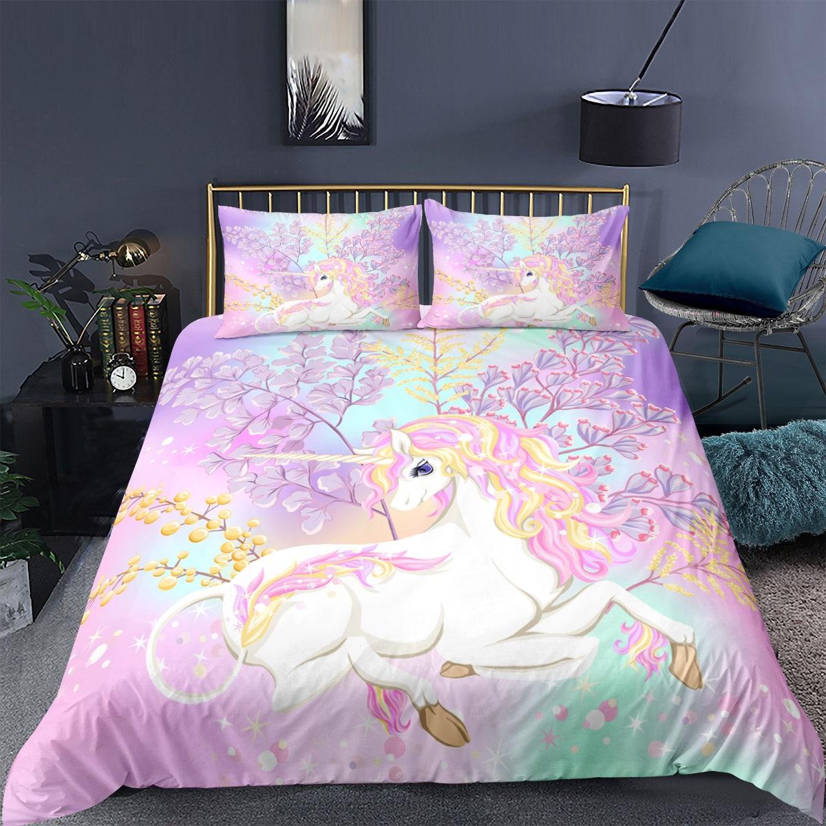 ثلاثية الأبعاد يونيكورن الاطفال حاف الغطاء الحيوان طباعة فتاة غطاء السرير المخدة الكرتون غطاء لحاف 2/3 قطعة ديكور المنزل طقم سرير