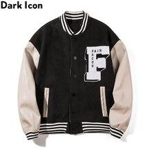 Dark Icon Embroidery Baseball Jacket Men Leather Patchwork High Street Men's Jackets Black Green