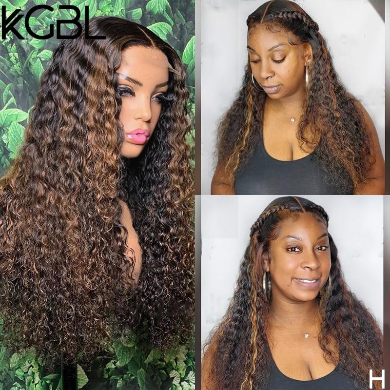 KGBL Highligh Lockige 13x6 Spitze Front Menschliches Haar Perücken Mit Baby Haar Brasilianische 150% 180% Dichte 8-24 nicht-Remy Perücken Medium Verhältnis