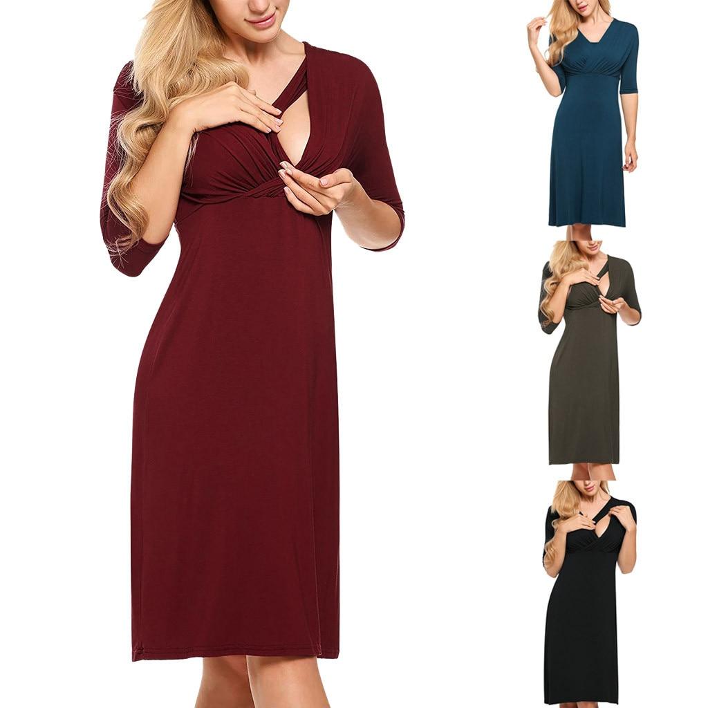 Frauen mutterschaft herbst kleid Pflege Sieben Viertel Sleeve V Neck Kleid für Stillen vestido premama fiesta # y2