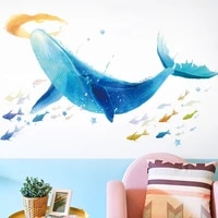 blue whale wall sticker creative vinyl art decals for kids babys room decoration underwater world bedroom decor mural wall decal