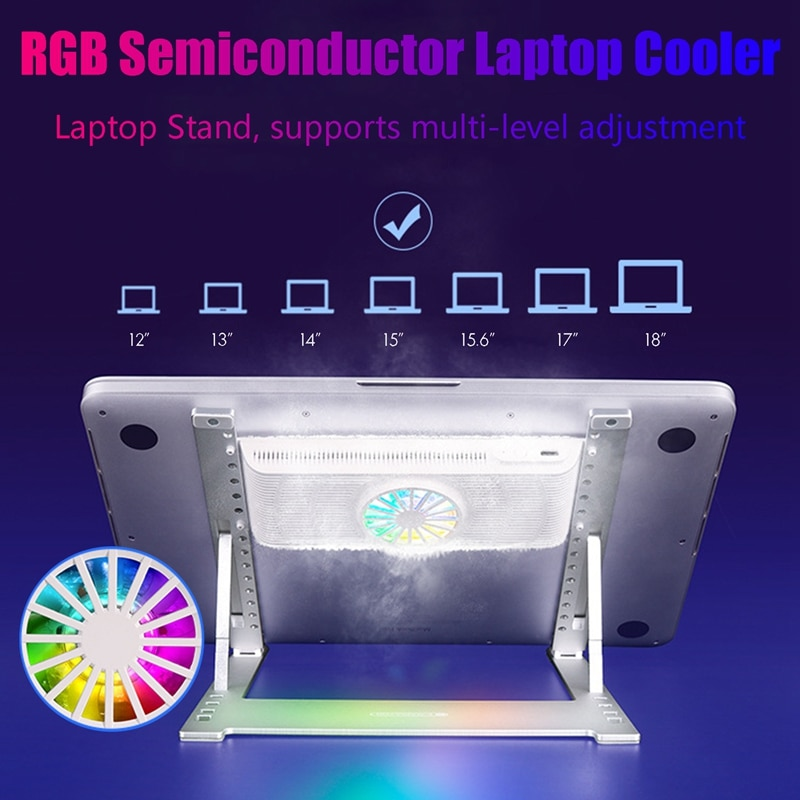 RGB مبرد كمبيوتر محمول أشباه الموصلات التبريد 12-18 بوصة الألعاب قاعدة تبريد كمبيوتر محمول مروحة التبريد قابل للتعديل حامل كمبيوتر محمول