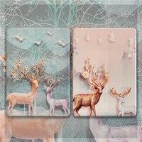 luxury silk texture elk for ipad pro 2020 2018 air 3 10 5 inch case for ipad 2017 2018 air2 9 7 mini 5 4 3 cute cartoon cover
