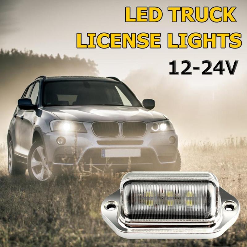 12-24V camión remolque 6LED cola paso lateral lámpara plateada para matrícula luces traseras luces laterales luces de paso luces de puerta