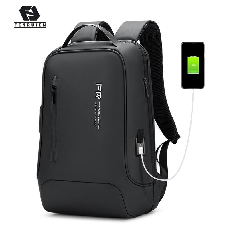 Fenruien 2020 جديد حقيبة ظهر 15.6 بوصة شنطة ظهر للكمبيوتر المحمول الأسود للرجال USB شحن الأعمال حقيبة السفر مقاوم للماء مكافحة سرقة