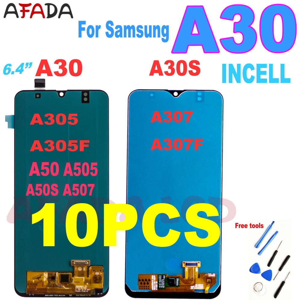 10 قطعة 6.4 'عرض لسامسونج A30 A305/DS A305F A305FD A305A A50 A50S A505 A507 A30S A307 LCD تعمل باللمس الجمعية محول الأرقام