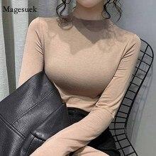 Модная повседневная женская блузка с круглым вырезом, осенняя приталенная рубашка 2020, облегающий однотонный пуловер, футболки с длинными р...