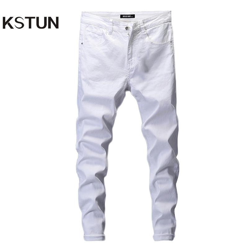 Обтягивающие джинсы для мужчин, однотонные белые мужские джинсы, брендовые Стрейчевые повседневные мужские модные джинсовые штаны, повседневные Молодежные брюки для мальчиков, размер 42