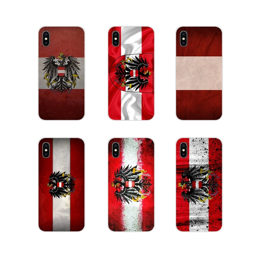 Tpu transparente capa saco para apple iphone x xr xs 11pro max 4S 5S 5c se 6 s 7 8 plus ipod touch 5 6 áustria bandeira nacional emblema