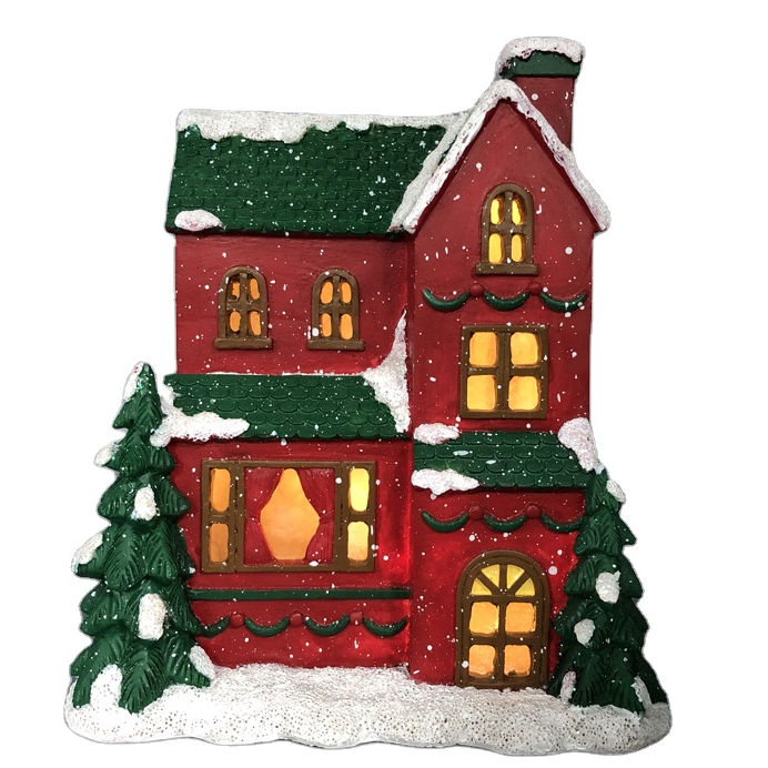 led lights car accessories Christmas Decoration Tabletop Resin House LED Lighted Village House