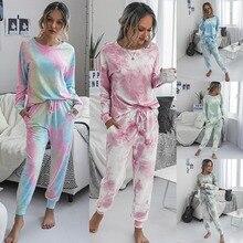 Tie Dye Print Basic T-shirt Broek Tweedelige Set Vrouwen Casual Outfits Lounge Wear Jogging Femme Biker Tees Zomer