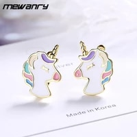 mewanry prevent allergy 925 sterling silver stud earrings ins fashion creative unicorn luxury jewelry party gifts for women