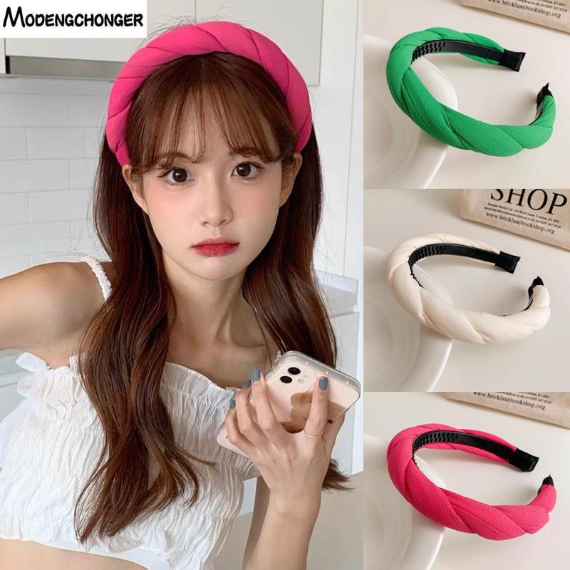 Fashion Girls  Hair Accessories Wide Shiny Weaving Hairbands Braided Headband Hair Hoop High Quality