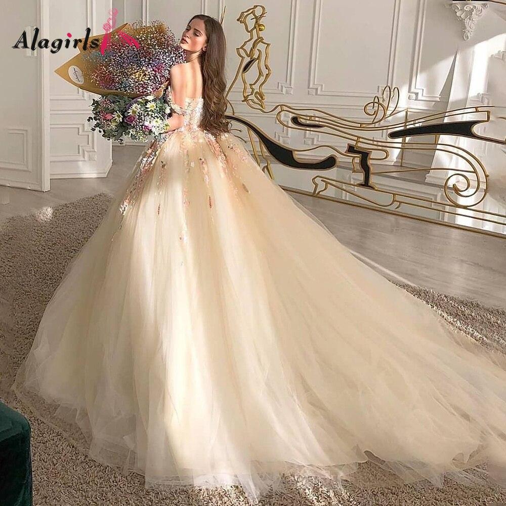 Review off The Shoulder Wedding Dress Appliques Beading Princess Wedding Dress A-line Chapel Train Wedding Dresses For Bride vestidos