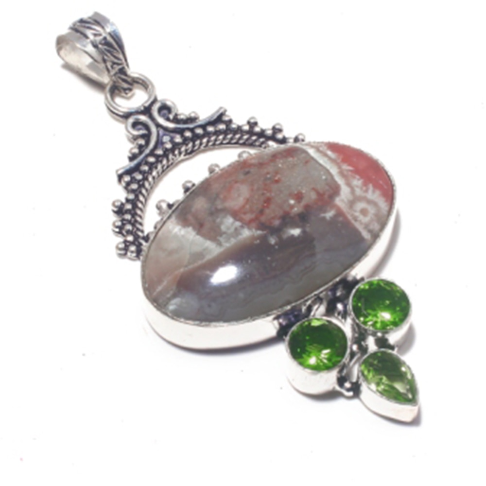 Ágata de encaje loco genuina + colgante de peridoto superposición de plata sobre cobre, regalo de joyería hecho a mano para mujeres