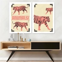 pale yellow canvas painting animal wall art two tigers posters and prints wall hd pictures for living room decoration home decor