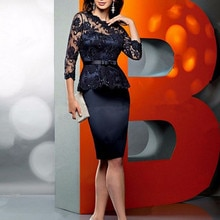 Navy Mother of the Bride Dresses Half Sleeves Formal Occasion Peplum Dresses Short Evening Gowns