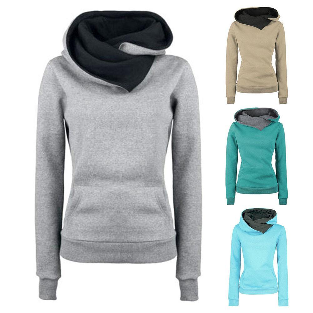 Новинка Зима 2020, повседневная женская однотонная теплая Толстовка С Карманами, пуловер, худи, Женская толстовка с капюшоном