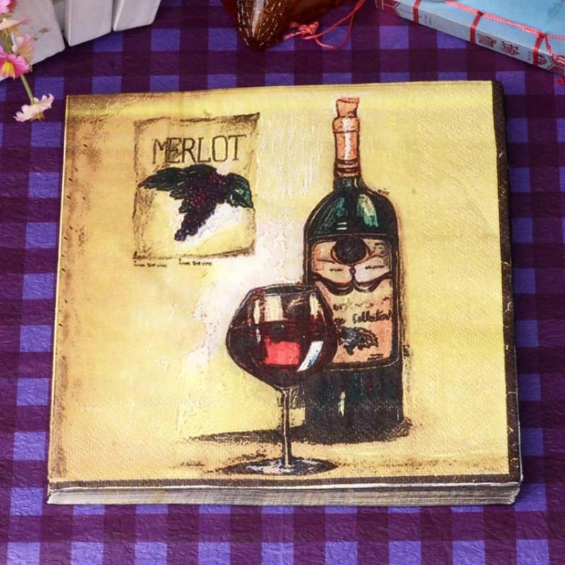 10 pces comida-grau de vidro de vinho tinto impresso guardanapo de papel tecido de madeira virgem para decoração de festa de casamento