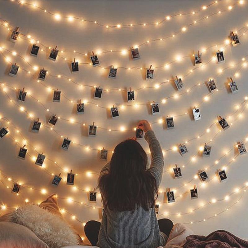 2 m/5 m/10 m led guirlanda photo clip titular led string luzes de fadas a pilhas guirlandas de natal decoração festa casamento x