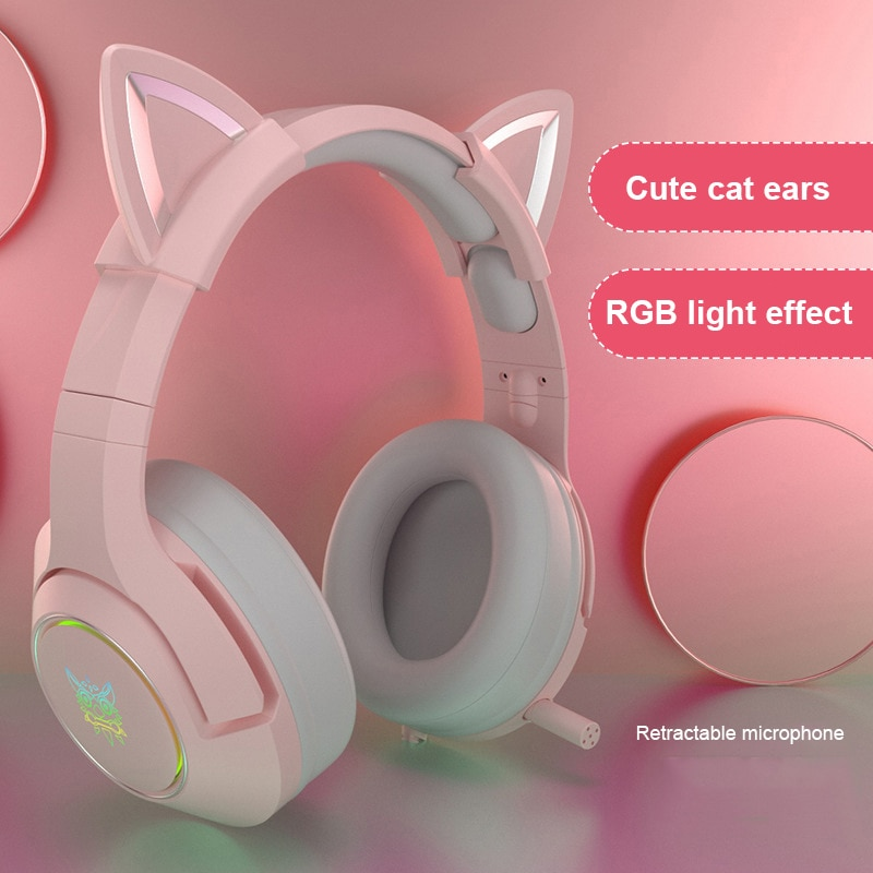 Cute Cat Ear Earphones Gaming Headset Wired Headphones 7.1 Surround Sound Stereo Earphone With Microphone LED Light For PC PS4 enlarge