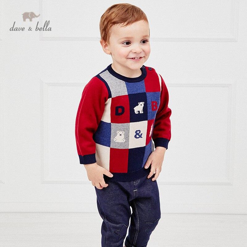 DBS15397 ديف بيلا الشتاء طفل الفتيان عيد الميلاد الكرتون محبوك سترة منقوشة أزياء الاطفال طفل صغير بوتيك قمم
