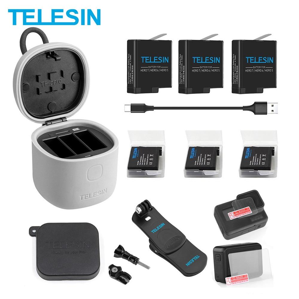 TELESIN 3 шт аккумулятор + 3 слота зарядное устройство TF кардридер зарядный ящик для хранения рюкзак зажим крышка объектива для Gopro Hero 8 7 6 5 черный