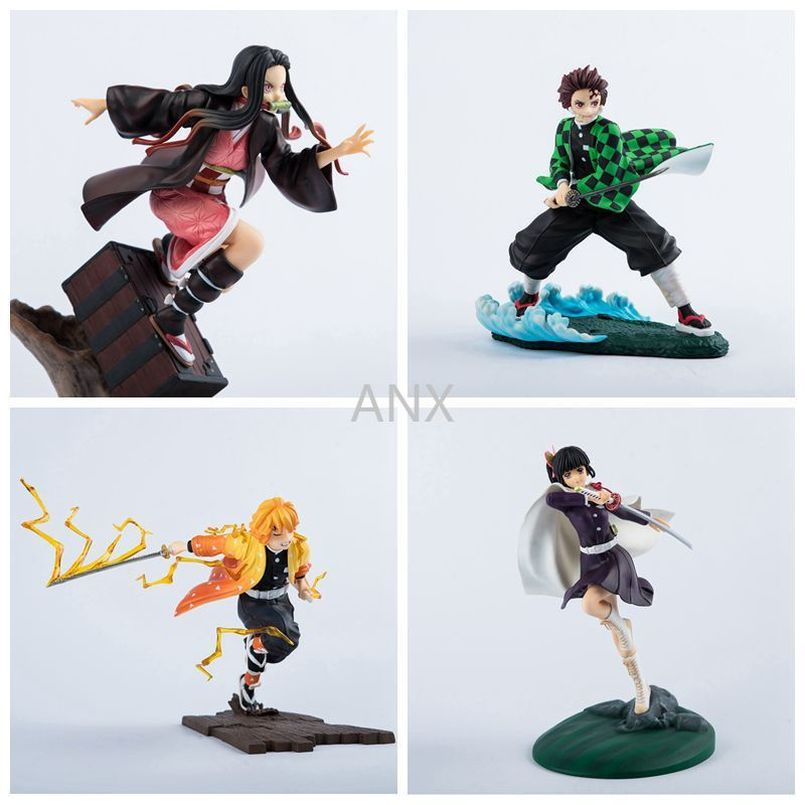 Anime Demon Slayer Figure Combat Version Running Tanjirou Nezuko Figure Toys Zenitsu Kanawo PVC Action Figure Toys Model Gifts 15cm anime one piece figure combat version marshall d teach figure toys collection pvc action figure one piece toys model gifts