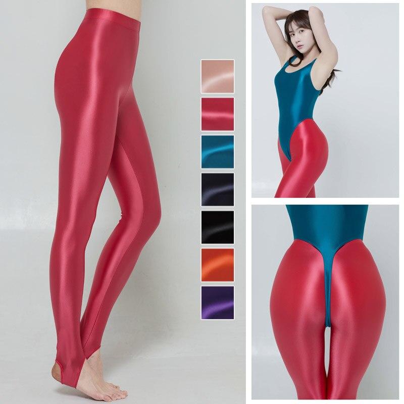XCKNY Oiliness Leggings liquid luster casual tights high waist elastic trampling socks oily glossy tights Yoga Fitness socks