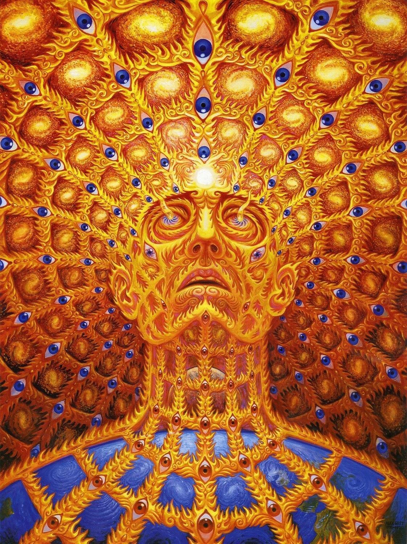 Alex cinza pyschedelic trippy pinturas a óleo lona arte da parede para sala de estar quarto decoração