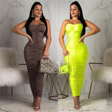 Fashion Autumn Women Solid Green Coffee Dress Ruched Sleeveless Strapless Sexy Clubwear Sheath Mid C