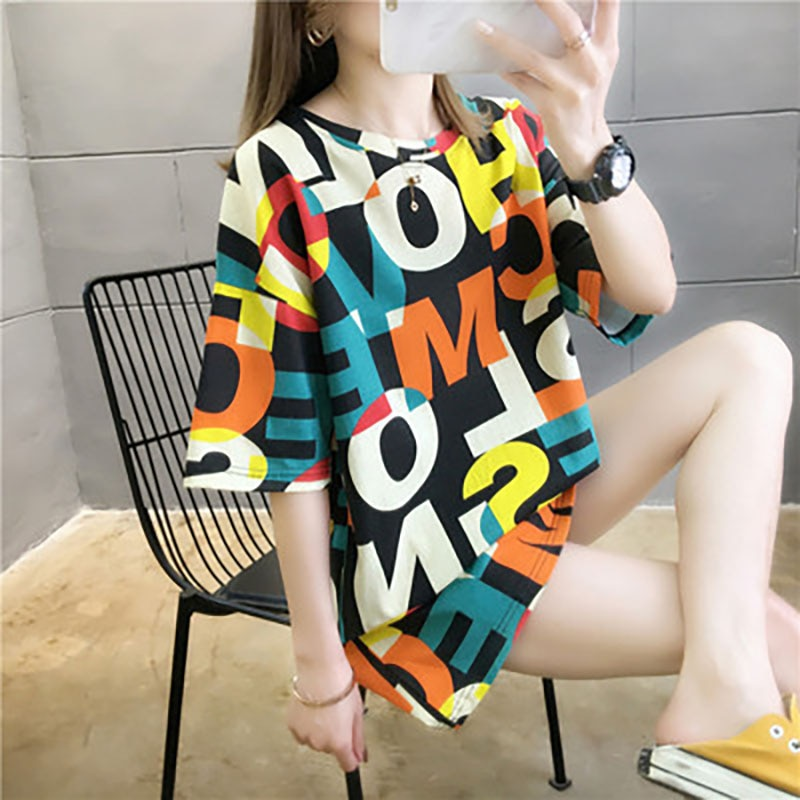 Short Sleeved T-Shirt Women Loose 2021 Summer New Korean Version Of The Wild Mid Length Ins Tide Top