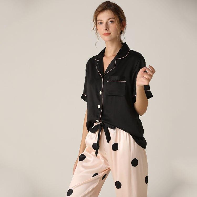 Lisacmvpnel Spring New Pajamas Woman Silk Suit Short Sleeve Trousers Loose High Archives Sleepwear
