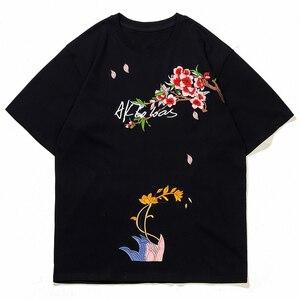 Hip Hop Streetwear T-Shirt Men Harajuku Embroidery Flower Letter Painting Cotton 2021 Summer Short Sleeve Tshirt  Top Tee