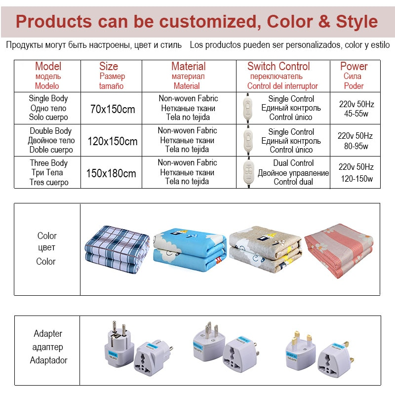 Electric Blanket 220v Thicker Heater Double Body Warmer 180*150cm Heated Mattress Thermostat Electric Heating Blanket EU Plug enlarge
