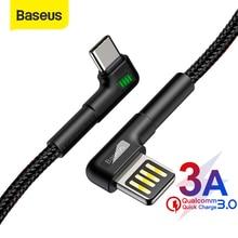 Baseus USB Typ C Kabel 3A Schnelle Lade USB C Kabel Doppel Ellenbogen Typ C Kabel für Samsung S9 S10 daten USB C Gaming Kabel Draht