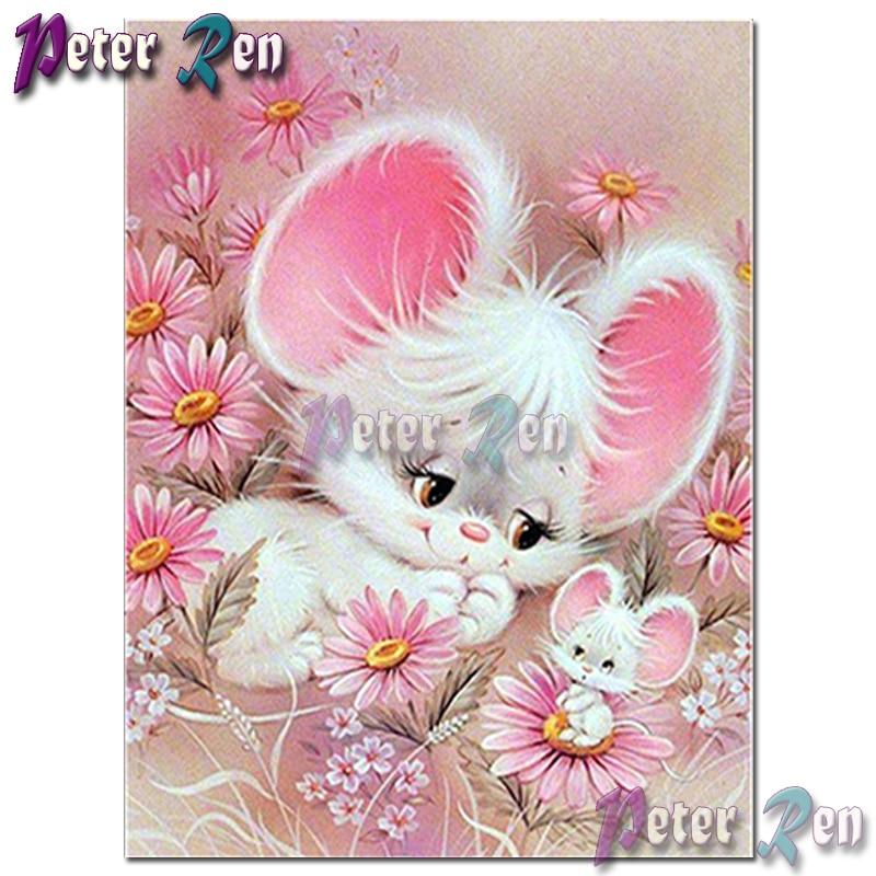 5d cartoon animal Diamond Embroidery DIY Pink big ear rabbit Mosaic Cross stitch Rhinestone Square or round Girl holiday gift