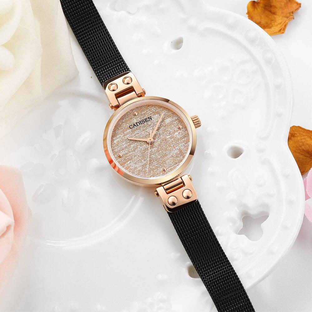 CADISEN 2020 new women watch luxury brand watch ladies Sapphire Dial Quartz wristwatch gold stainless steel dress gift for women enlarge