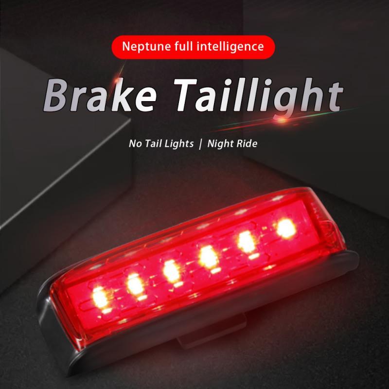 Neptune USB Charging Smart Induction Brake Bicycle Taillight Waterproof Safety Back Bike Light Warning Saddle Bike Rear Light