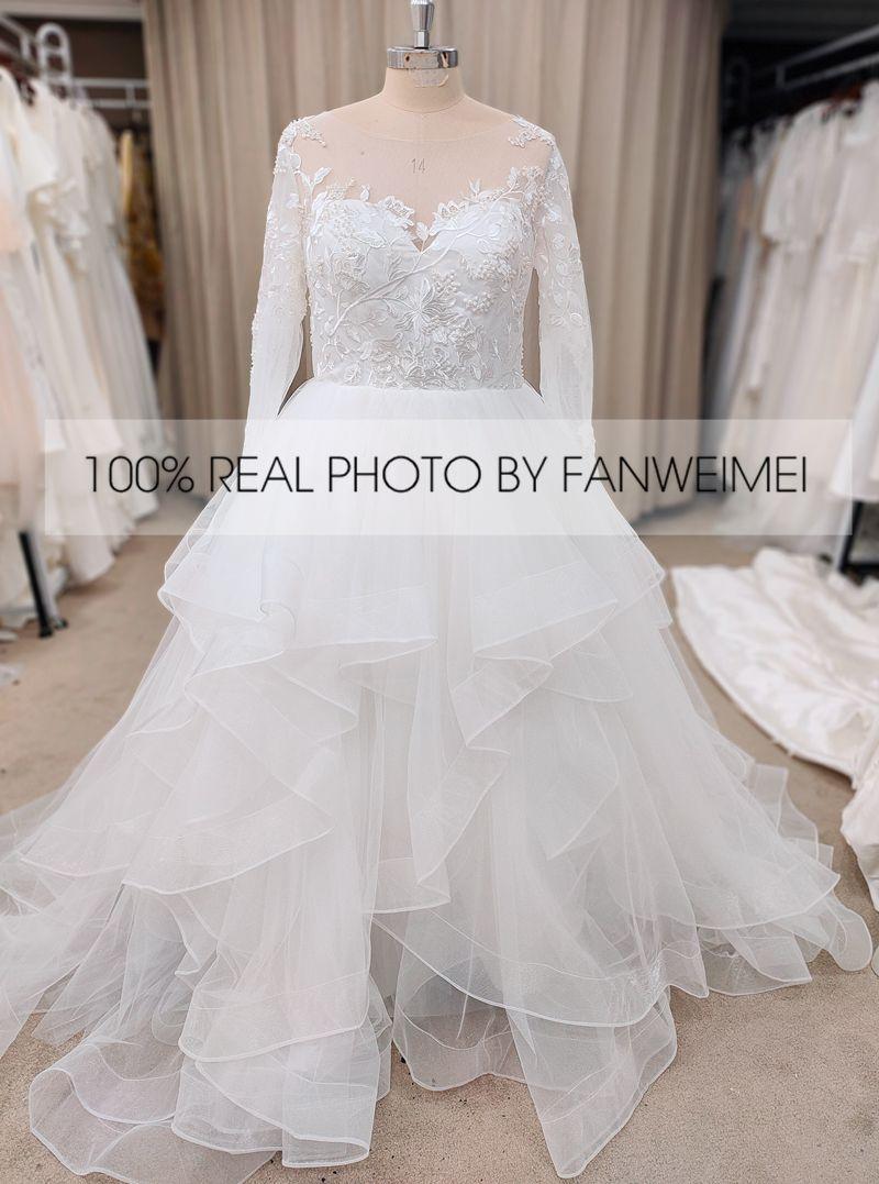 Long Sleeve Wedding Dress Ball Gown Puffy Cascading Ruffled Organza Quinceanera Dress Appliques #9061 REAL PHOTOS 9061#