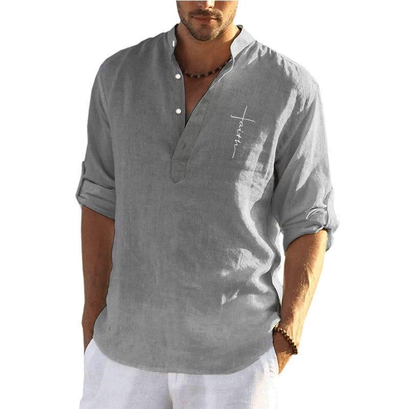 2021 New Men's Casual Cotton Linen Solid Color Long Sleeve Shirt Cotton Linen Loose Standing Collar Shirt Men Hemp Shirt недорого